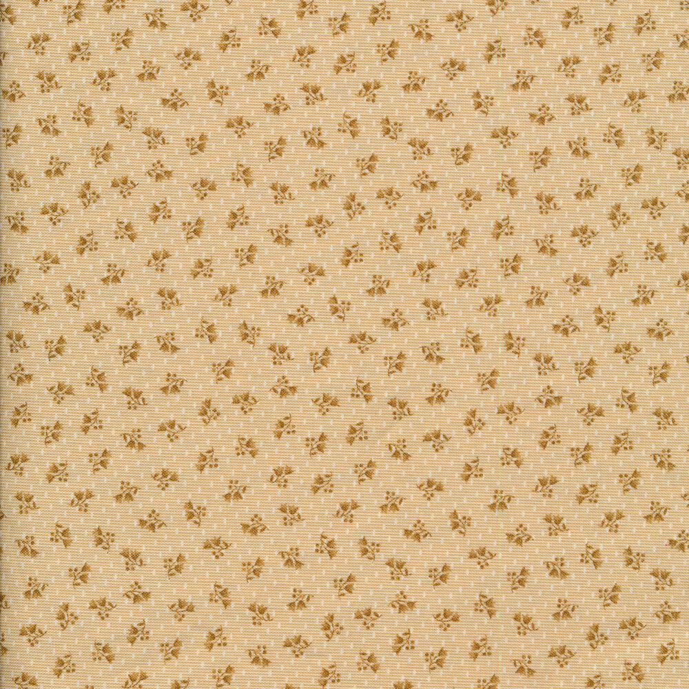 Tossed ditsy flowers on a striped tan background with small white dots all over   Shabby Fabrics