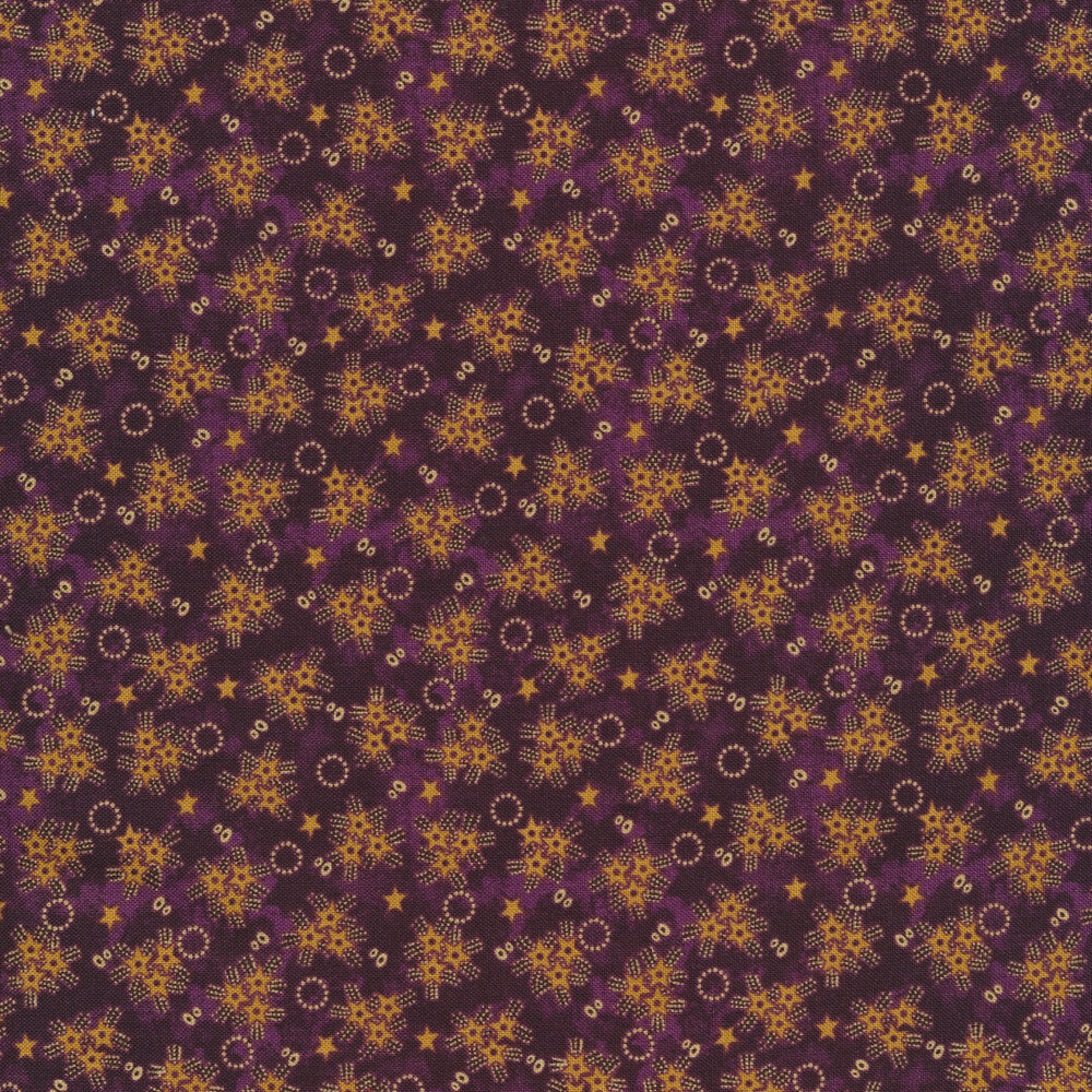 Yellow star bursts and rings on a mottled purple background   Shabby Fabrics
