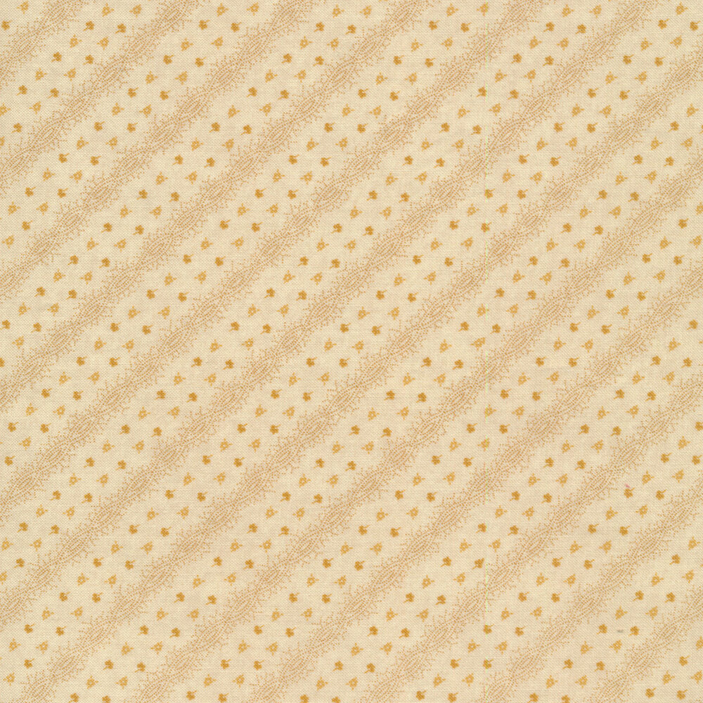 Tiny yellow flowers and diagonal stripes on a white background | Shabby Fabrics