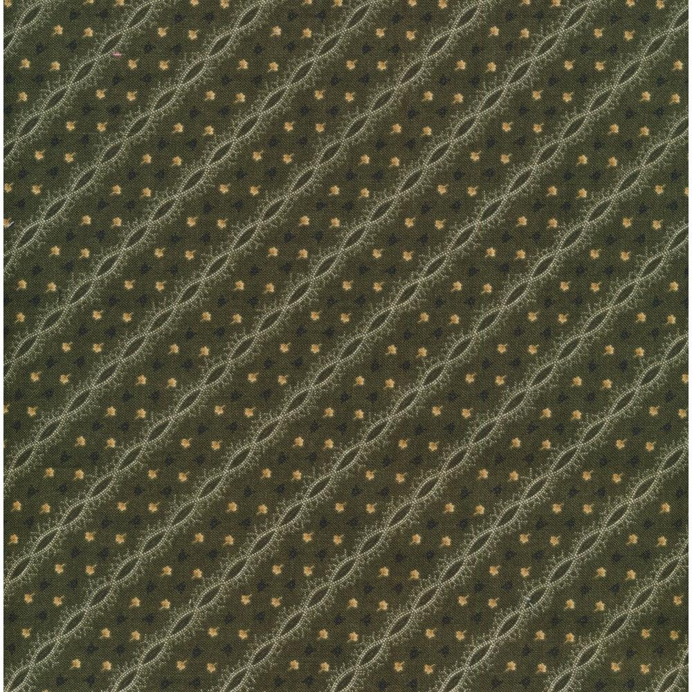 Tiny black and cream flowers and diagonal stripes on a dark green background | Shabby Fabrics