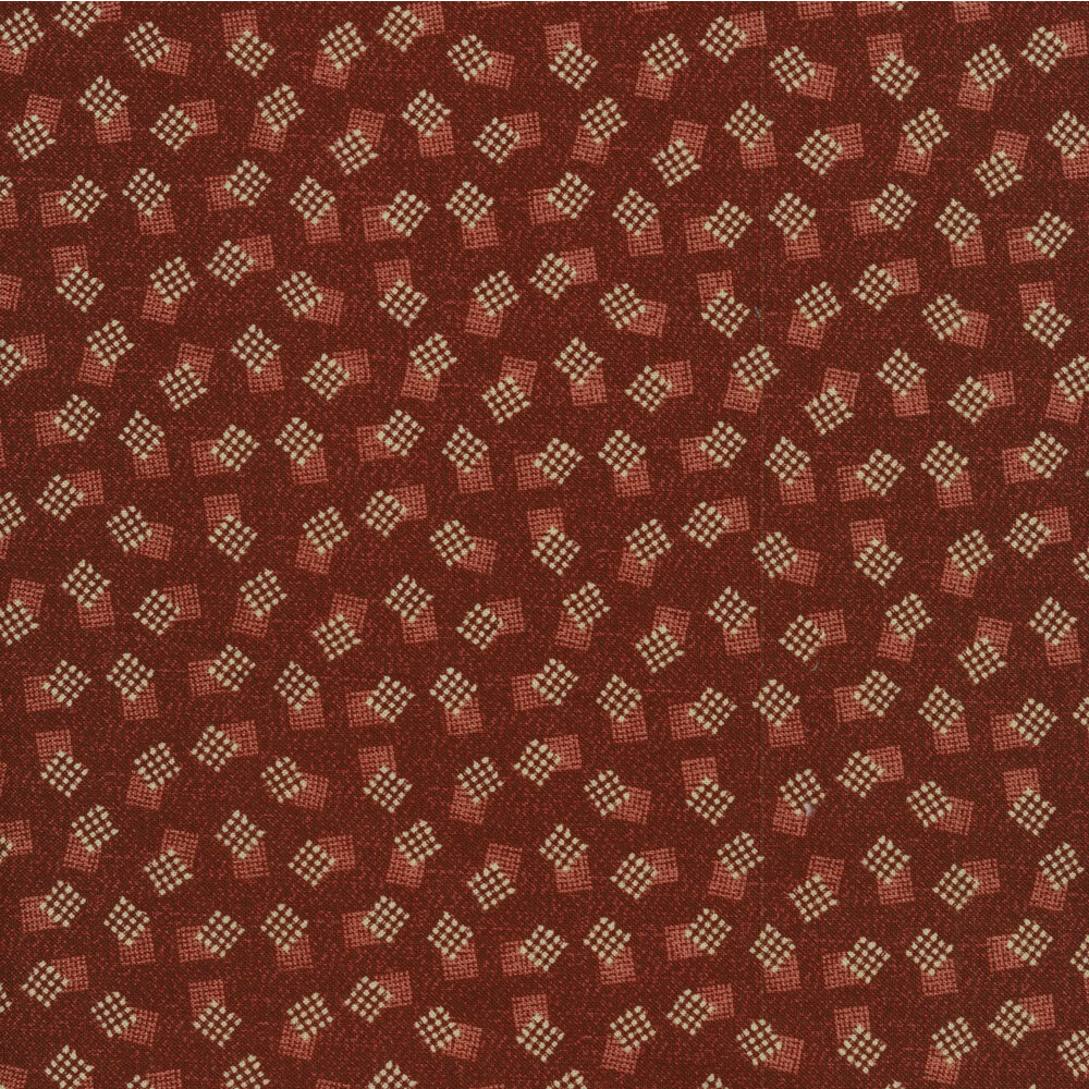 Tossed white crosshatch boxes on a red background | Shabby Fabrics
