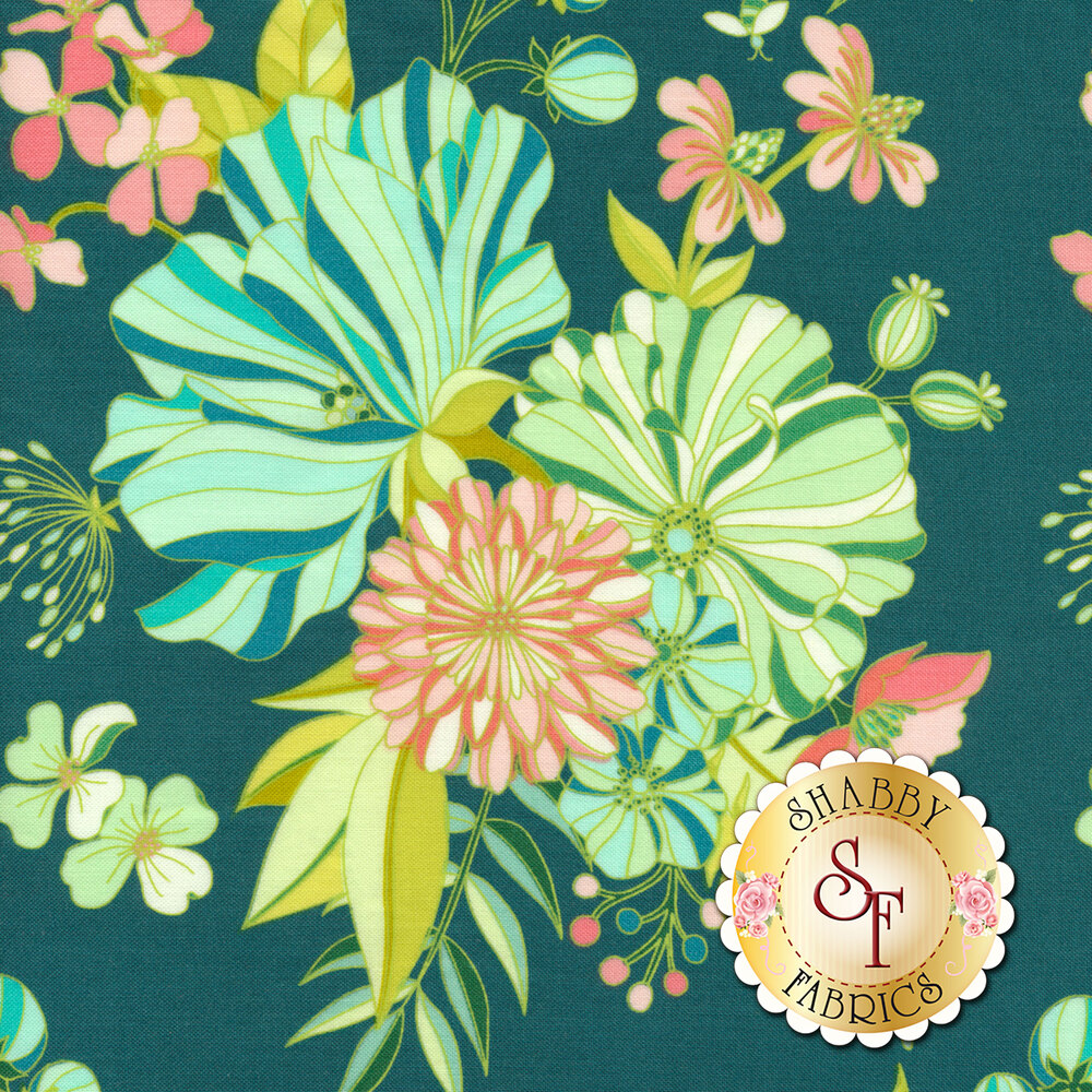 Blue, green, and peach colored flowers on dark teal | Shabby Fabrics