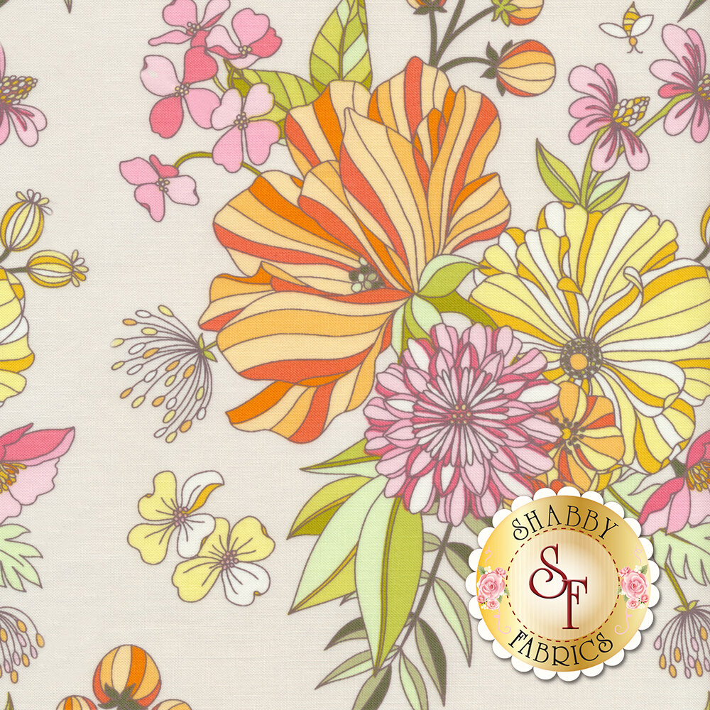 Orange, yellow, and pink flowers on a light pink background | Shabby Fabrics