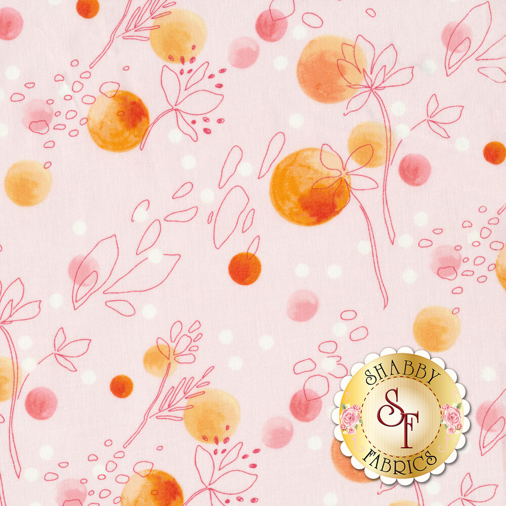 Floral designs with orange baubles on light pink | Shabby Fabrics