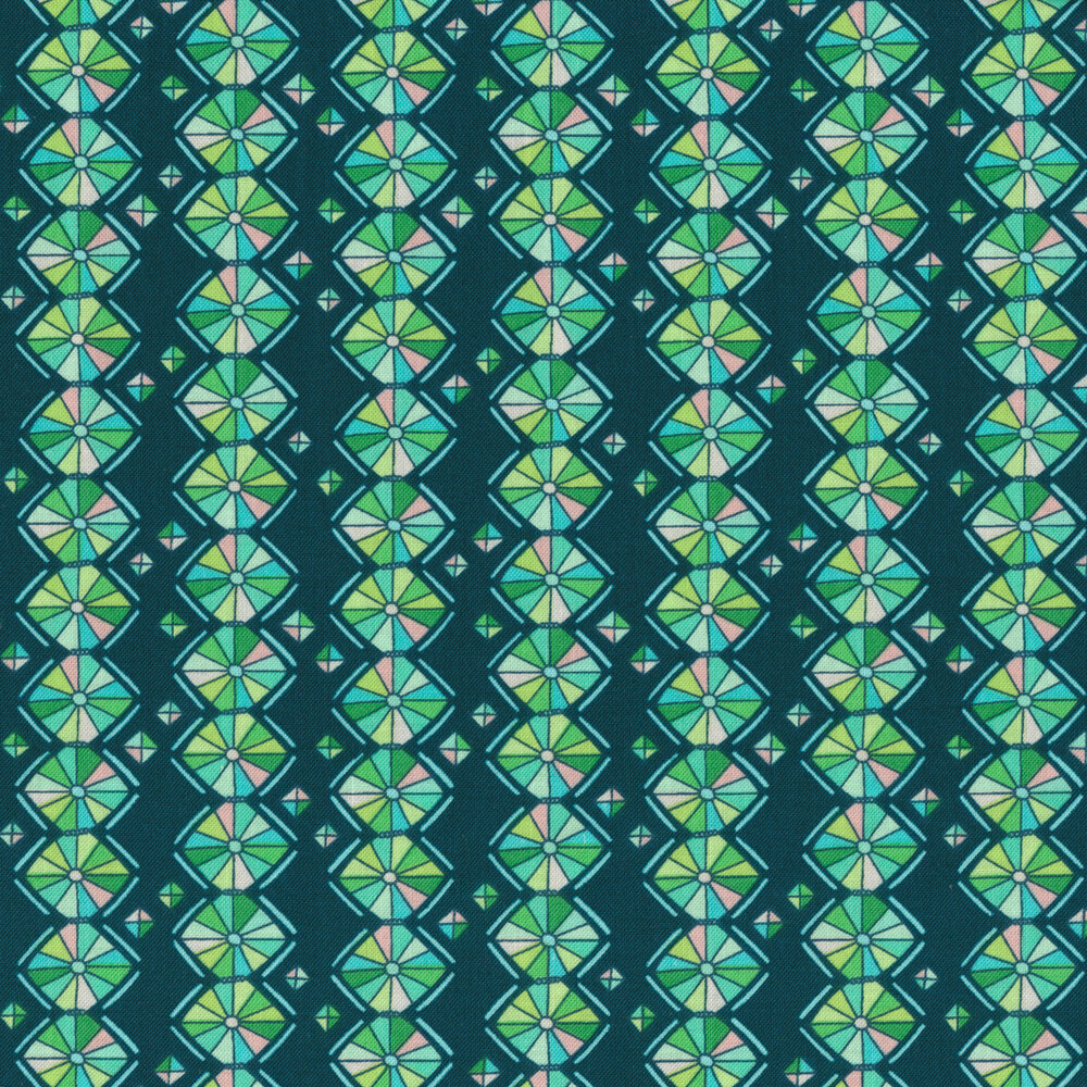 Green geometric stripe on dark teal | Shabby Fabrics