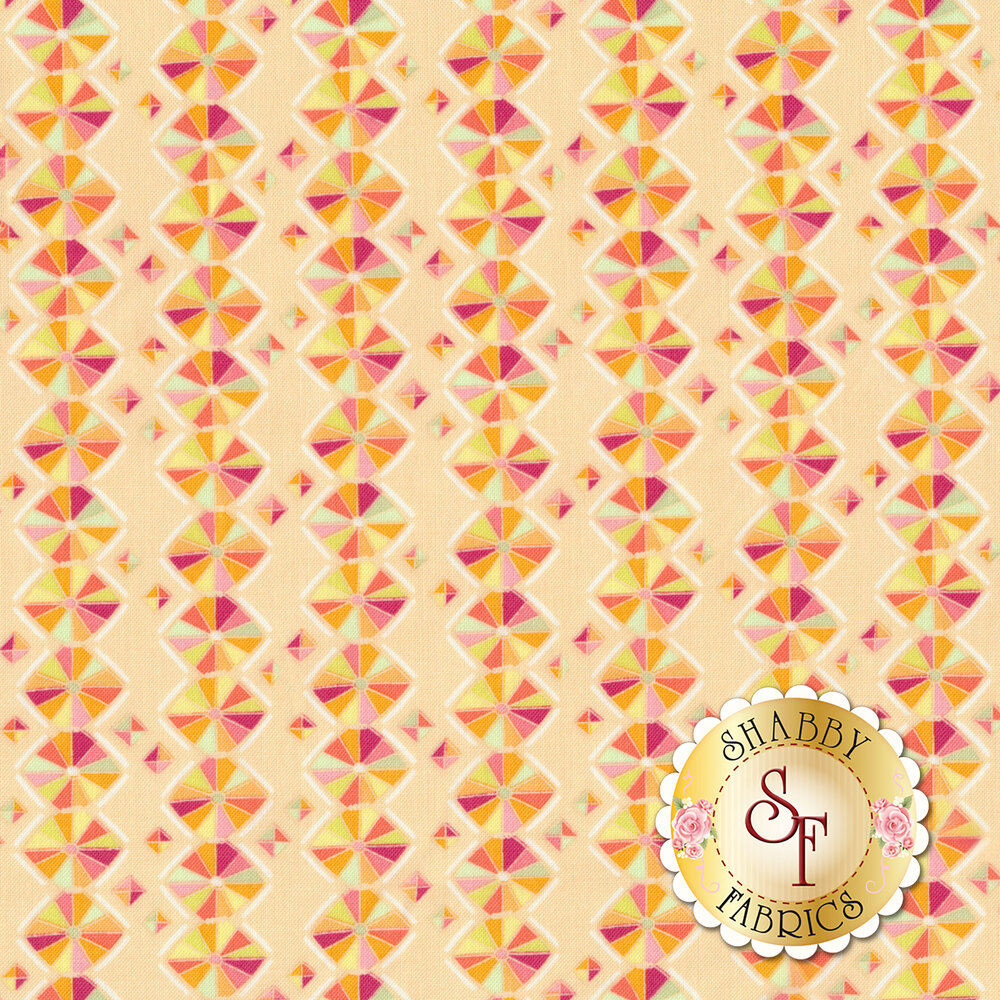 Orange hexagonal stripe design on light peach | Shabby Fabrics