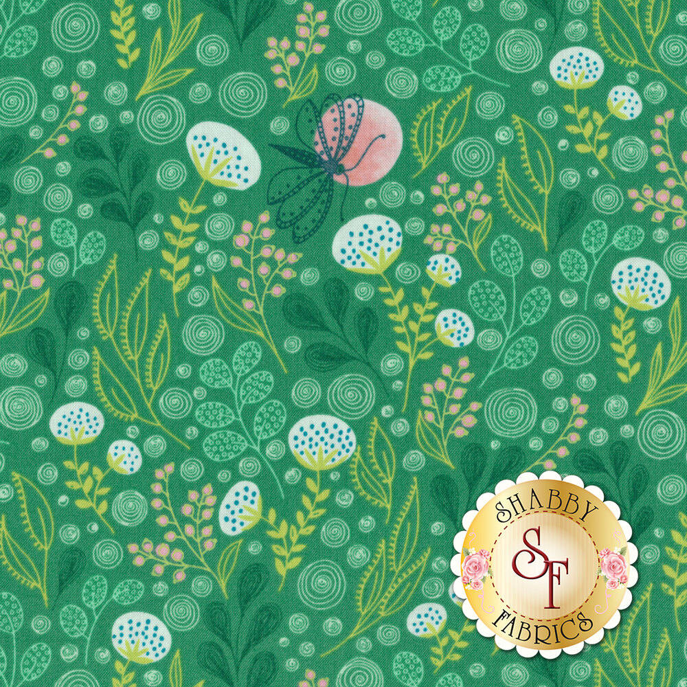 AbloomAll over leaf design with butterflies on green - Shabby Fabrics