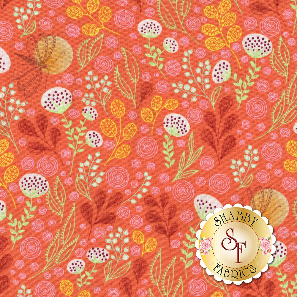All over leaf design with butterflies on orange | Shabby Fabrics