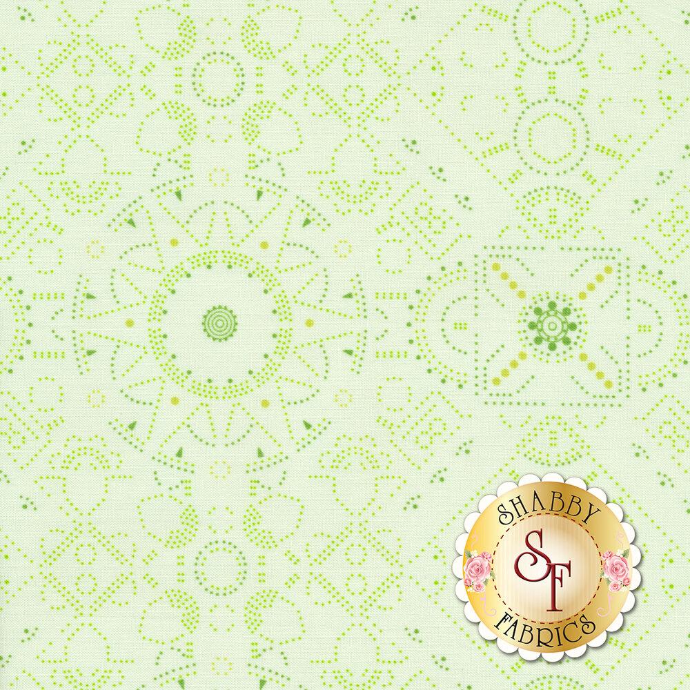 Dotted modern geometric design on light green | Shabby Fabrics