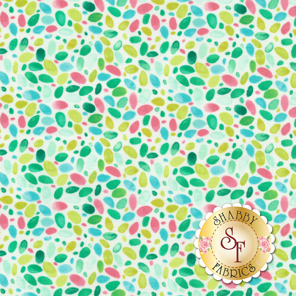 Multicolored oval shapes all over white | Shabby Fabrics