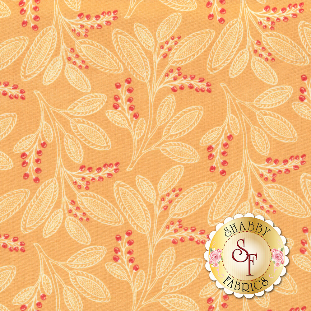 Leaf designs with berries on light orange | Shabby Fabrics