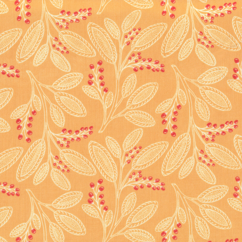 Leaf designs with berries on light orange   Shabby Fabrics