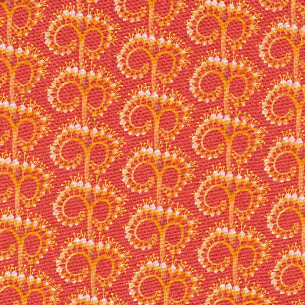 Tonal orange unfurling flower design | Shabby Fabrics