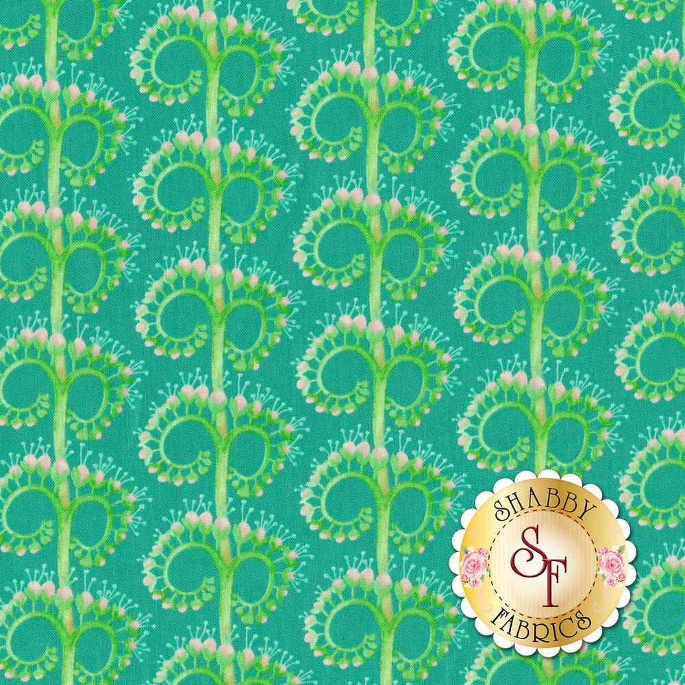 Green unfurling flower design on turquoise background | Shabby Fabrics