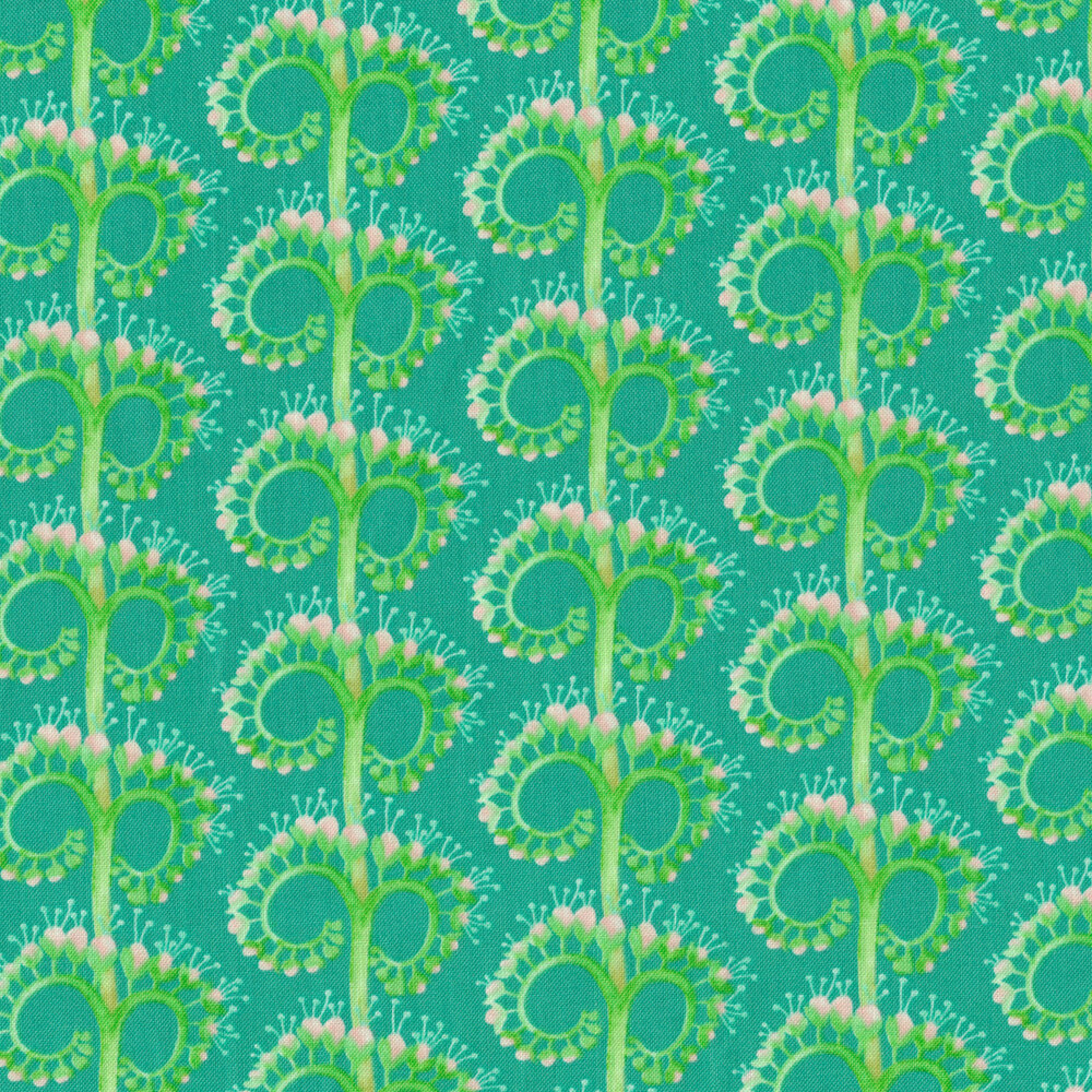 Green unfurling flower design on turquoise background | Shabby Fabrics