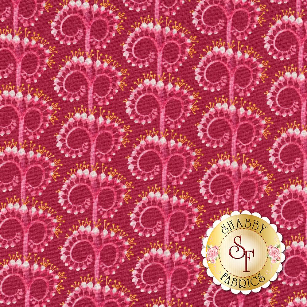 Tonal magenta unfurling flower design | Shabby Fabrics