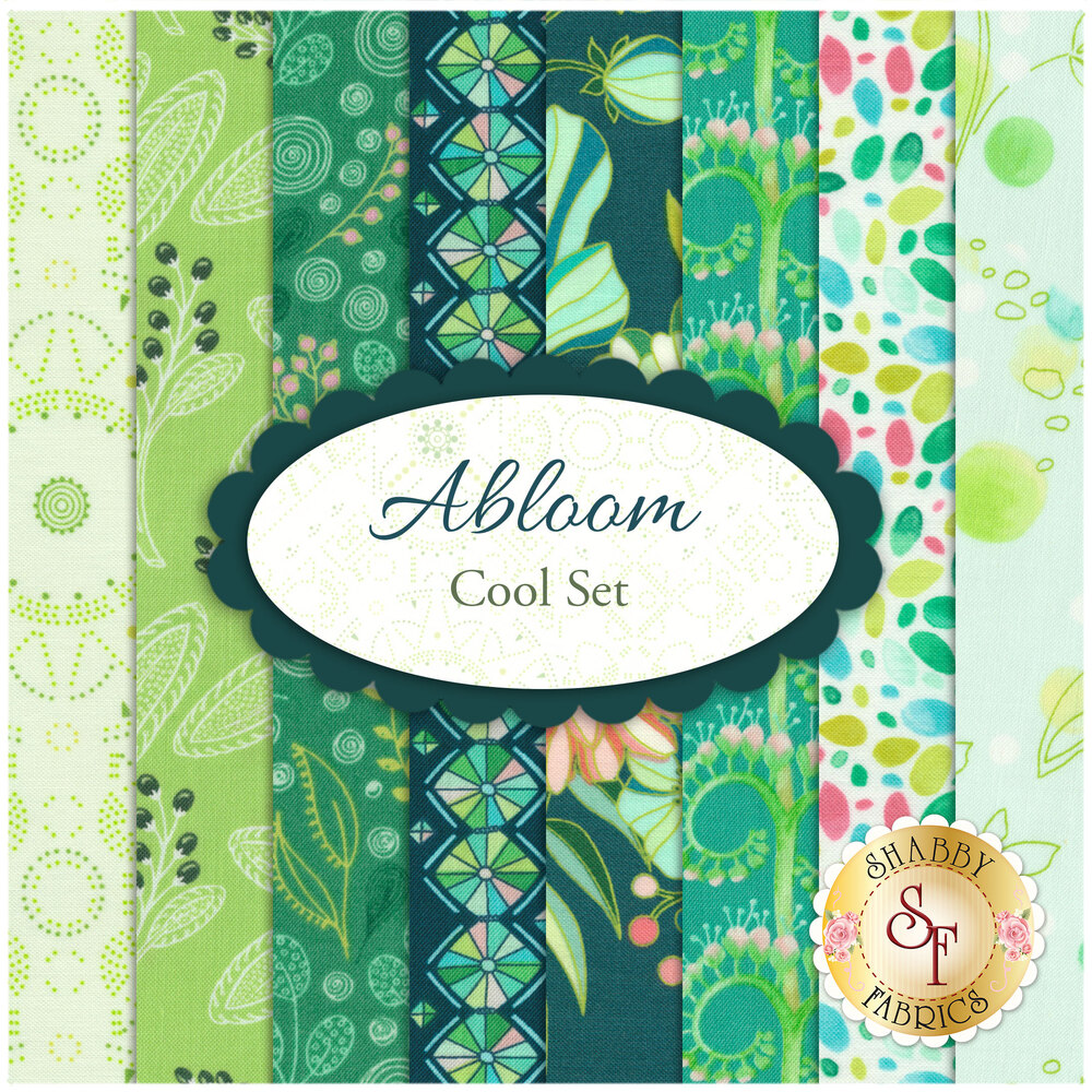 Collage of fabrics in Abloom Cool Set | Shabby Fabrics