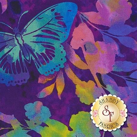 Aflutter 3911-55 Purple Aflutter & Fern by Elizabeth Isles for Studio E Fabrics