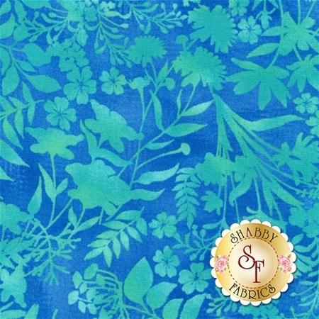 Aflutter 3912-17 Cerulean Wildflower Silhouette by Elizabeth Isles for Studio E Fabrics