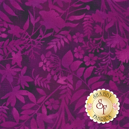 Aflutter 3912-55 Purple Wildflower Silhouette by Elizabeth Isles for Studio E Fabrics