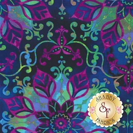 Aflutter 3914-77 Indigo Floral Medallion by Elizabeth Isles for Studio E Fabrics