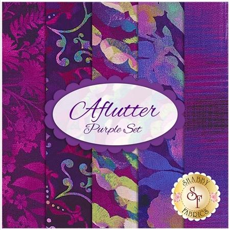 Aflutter  5 FQ Set - Purple Set by Elizabeth Isles for Studio E Fabrics