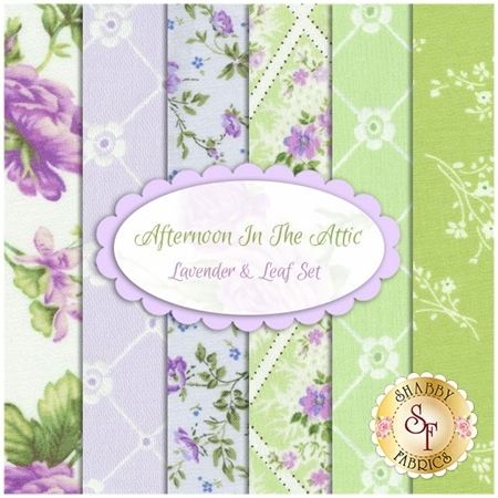 Afternoon In The Attic  6 FQ Set - Lavender & Leaf Set by RJR Fabrics