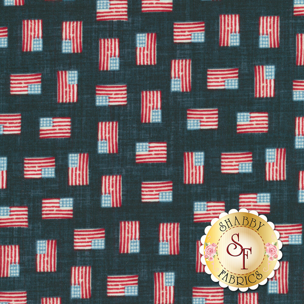 Small American flags all over blue | Shabby Fabrics