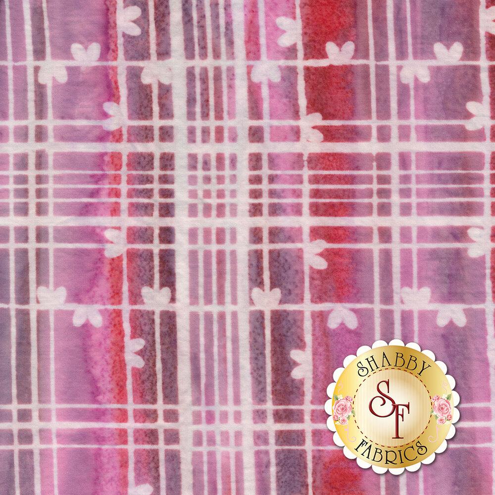 Red and pink plaid batik | Shabby Fabrics
