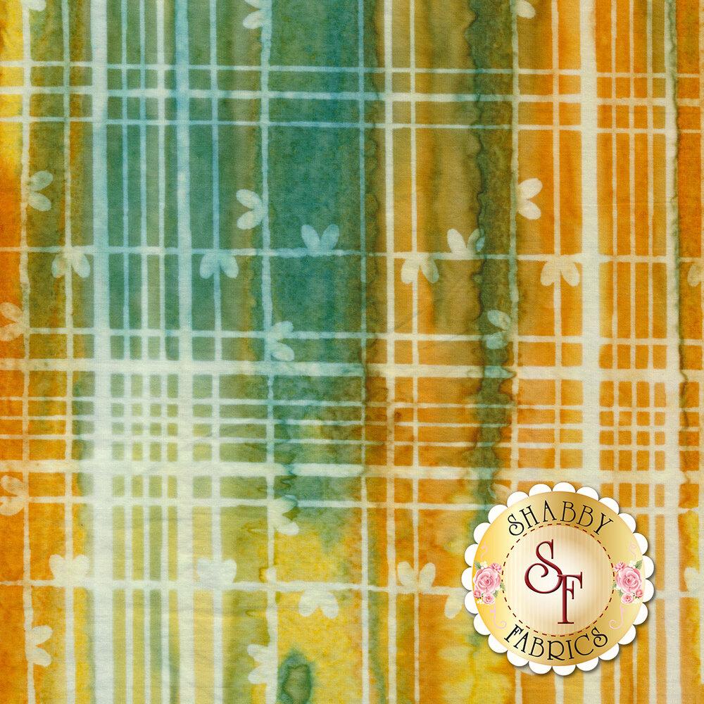 Yellow and teal plaid batik