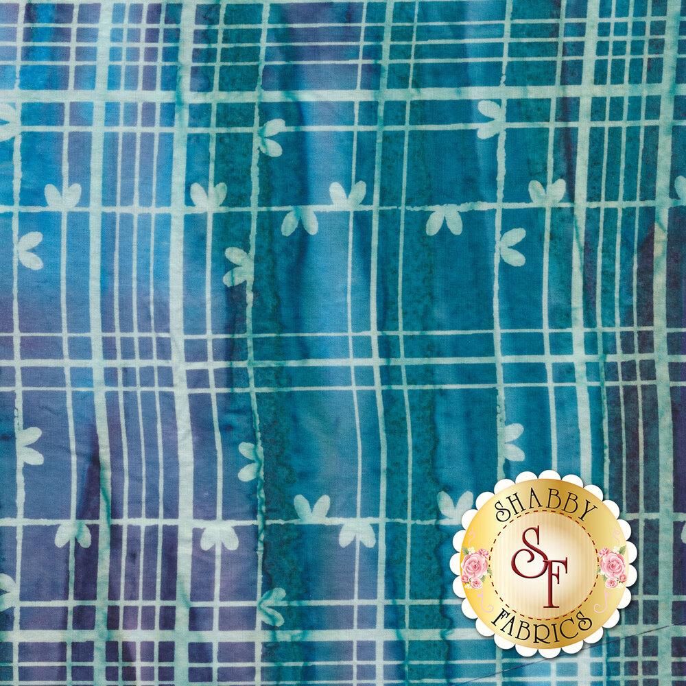 Teal and purple plaid batik - Shabby Fabrics