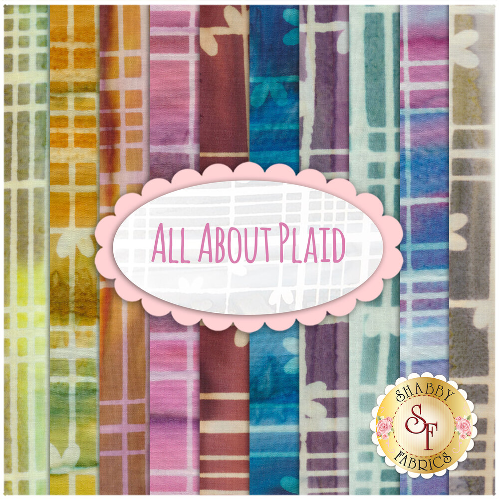 A collage of the batiks included in the All About Plaid 10 FQ Set | Shabby Fabrics