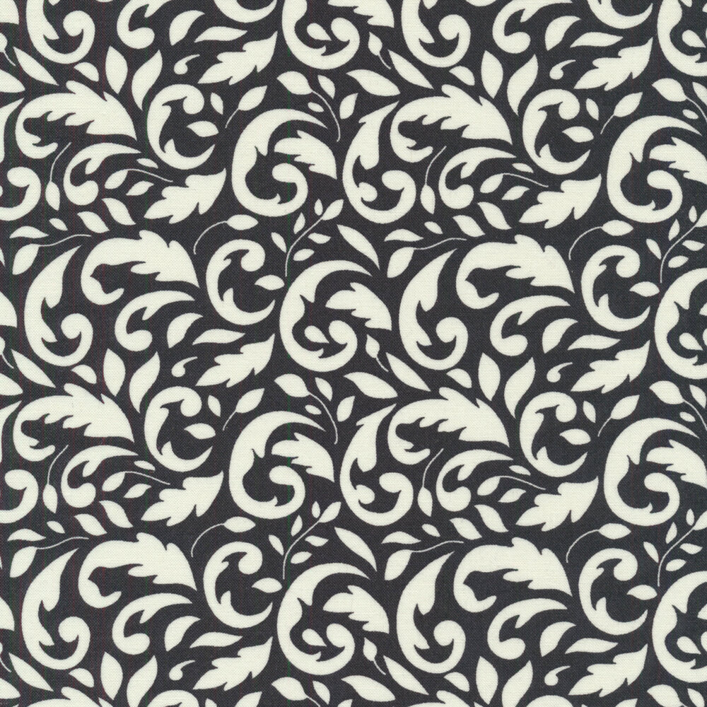 Cream scroll design on black | Shabby Fabrics