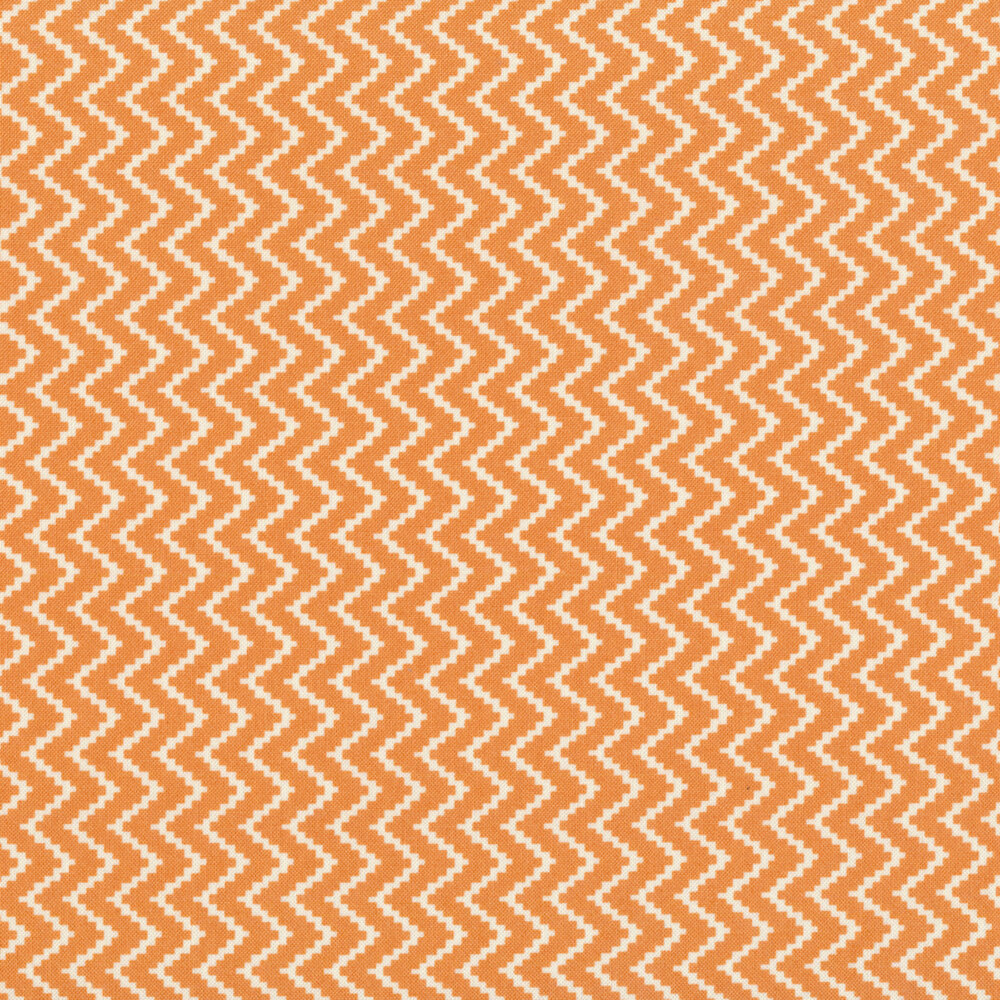 Orange and white zig zag design | Shabby Fabrics