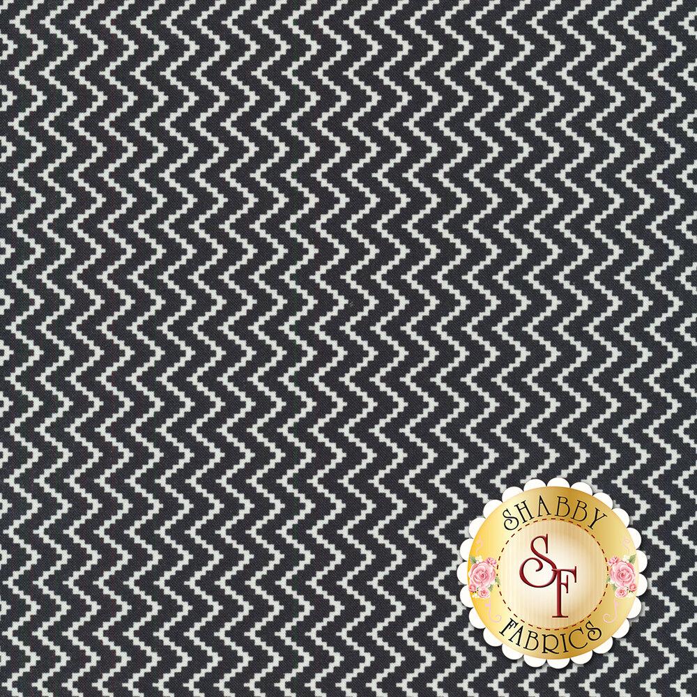 White chevron zig-zag on black | Shabby Fabrics