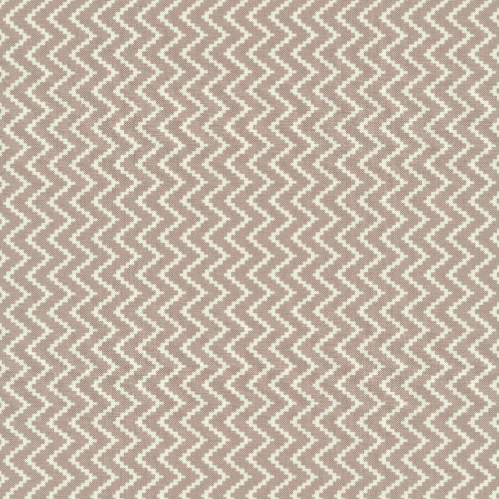 Gray and white zig zag design | Shabby Fabrics