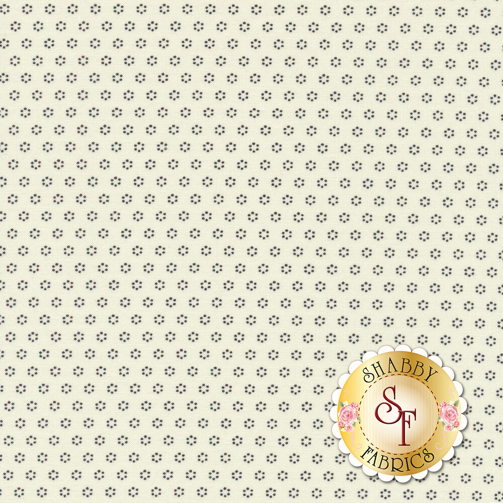 Black floral dot clusters on white | Shabby Fabrics