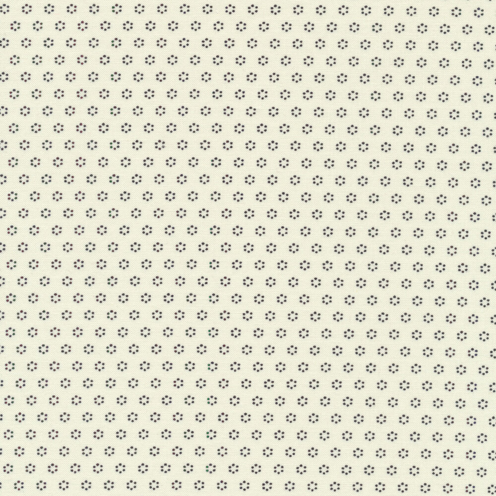 Black floral dots on cream | Shabby Fabrics