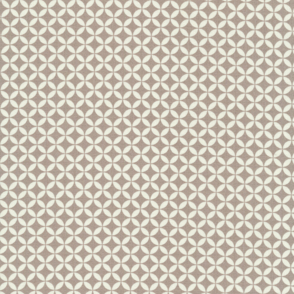 Gray and white floral geometric design on orange | Shabby Fabrics