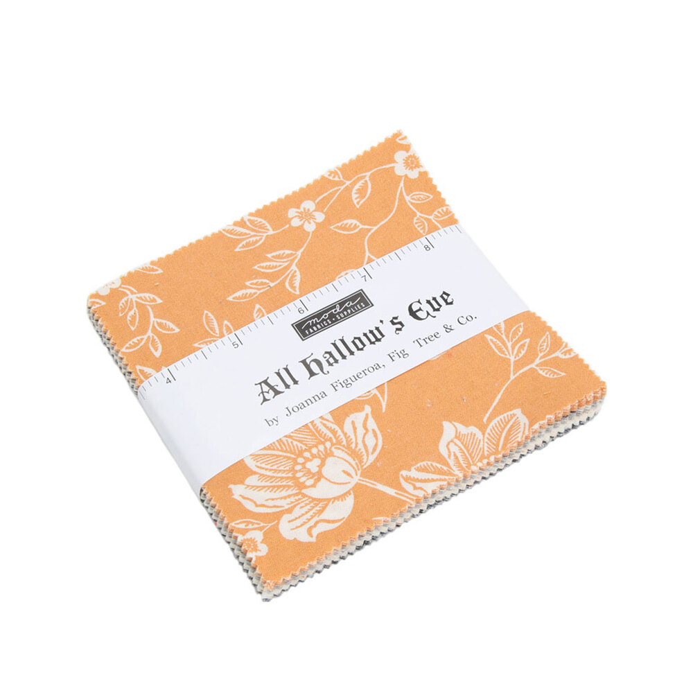 All Hallows Eve 5 inch squares featuring various fabrics in orange cream and grey | Shabby Fabrics