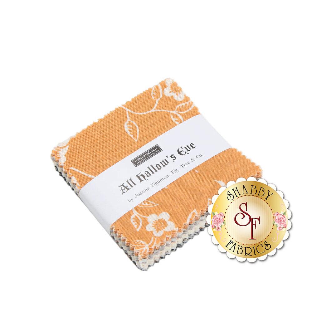 All Hallows Eve mini charm squares with various fabrics in orange cream and grey | Shabby Fabrics