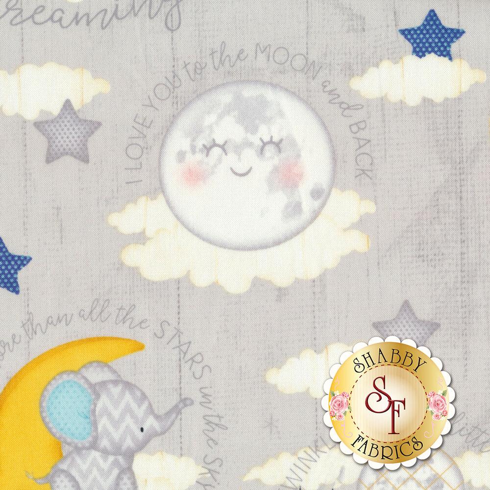 Stars, suns, moons, and words on light gray ship lap | Shabby Fabrics