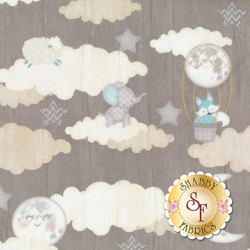 Clouds, moons, and stars on gray | Shabby Fabrics