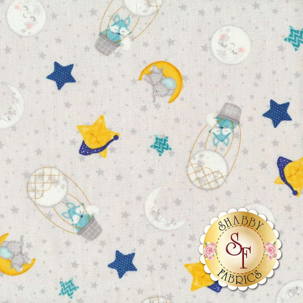 Tossed moons and stars with foxes and elephants all over gray | Shabby Fabrics
