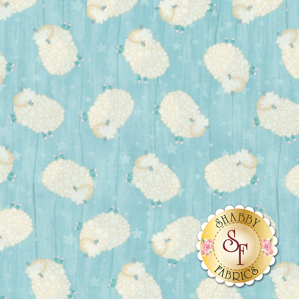 White sheep tossed all over aqua | Shabby Fabrics