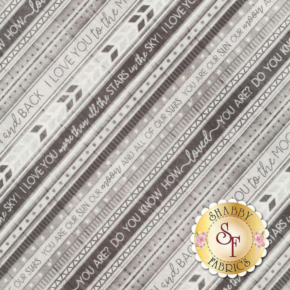 Diagonal tonal gray stripe with words | Shabby Fabrics