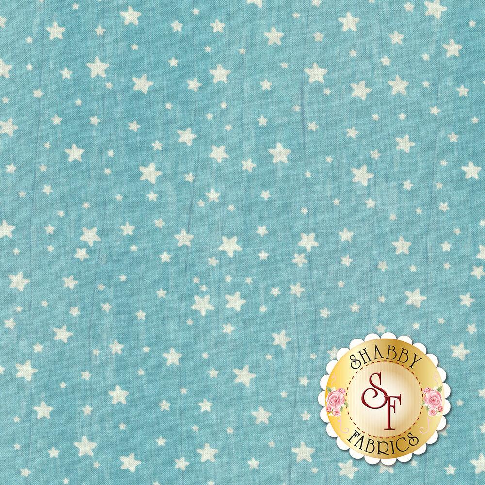 Small white stars all over textured aqua | Shabby Fabrics