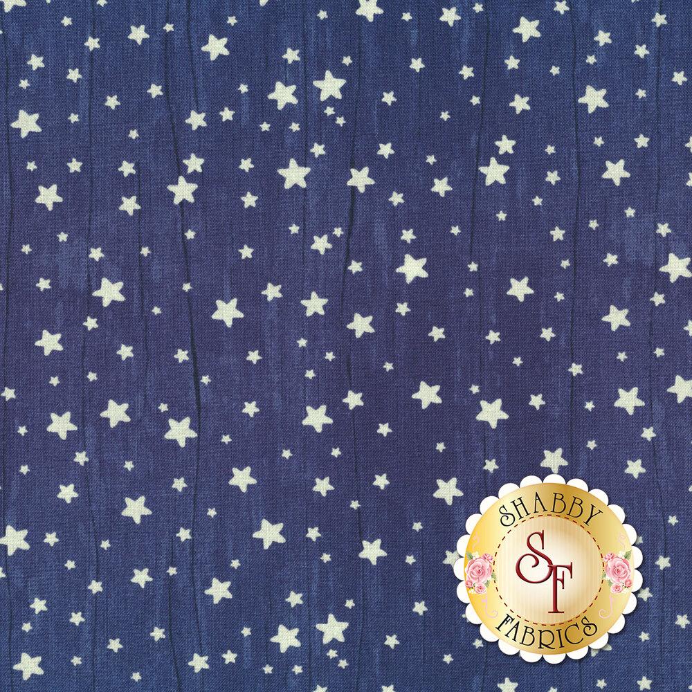 Small white stars all over textured blue   Shabby Fabrics