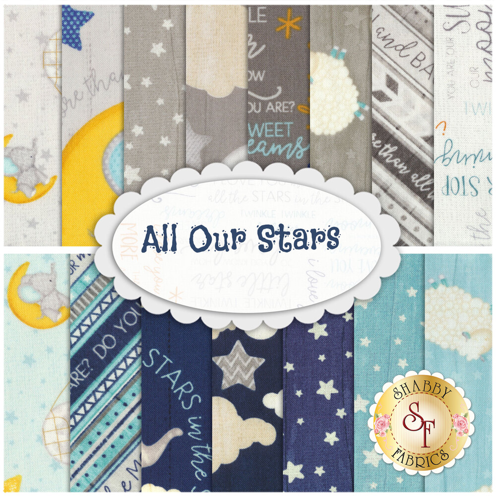 Collage of fabrics in All Our Stars fat quarter set | Shabby Fabrics