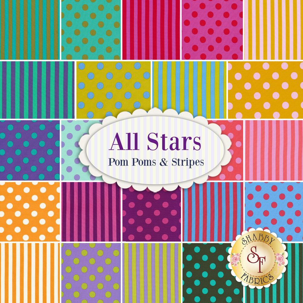 All Stars - Pom Poms & Stripes  23 FQ Set by Tula Pink